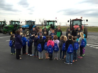 FFA members who brought farm equipment to show included (from left): Skyler Lewis, Elliott Lloyd, Alek Bowersock,Catlyn Richey, Josh Oberlitner, Logan Williams, McKenzie Davis, Chayten Overholt, Ethan Kemler, Caden Ringwald, Isiac Bowersock, Tristin Miller. (Photo submitted.)
