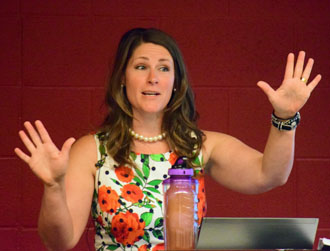 Britney Ward, director of community health improvement for the Hospital Council of Northwest Ohio, speaks during Wednesday's health assessment presentation. (Dave Mosier/Van Wert independent)
