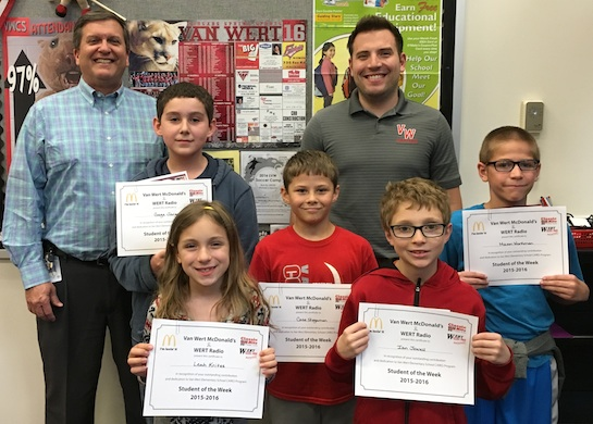 Congratulations to the Van Wert Elementary School Students chosen for the Word of the Week award.  Pictured with Kevin Gehres, Principal, and Justin Krogman, Assistant Principal, are students recognized for being humble.  Award winners this week are Leah, grade 1; Ian, grade 2; Case, grade 3; Mason, grade 4; and Gage, grade 5.  Each child received a free Mighty Kids Meal from our local McDonalds, a Bounce Certificate from The Kangaroo Cave of Delphos, and a certificate from WERT Radio. (Photo submitted.)