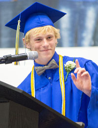 Lincolnview class president and salutatorian Colton Snyder speaks during Lincolnview's graduation ceremonies on Sunday (click here for more photos). (Bob Barnes/Van Wert independent)