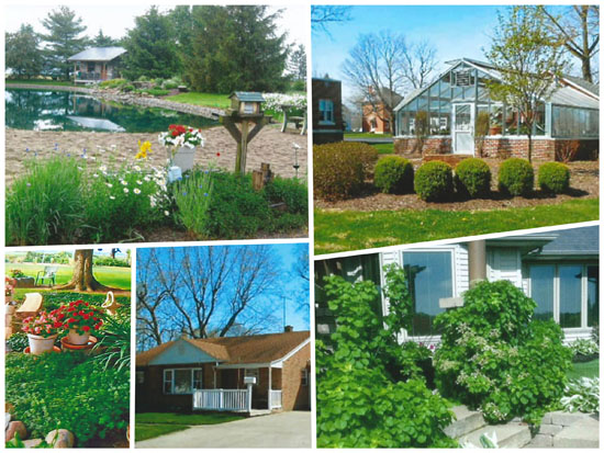 Sites on this year's Peony Festival Garden Tour include (top row, from the left) 9202 Van Wert Willshire Road, The Marsh Foundation (1229 Lincoln Highway); (bottom row) 7433 German Church Road, 510 S. Vine St., and 1034 Shawnee Drive. (photos submitted)