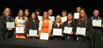 Vantage class of 2016 Award of Distinction winners: Front row (left to right): Marcy Shoppell, Stacey Partin, Bianka Robach, Alexis Doster, Allyson Rhoades, Darian Tijerina, Makayla Ryan. Back Row: Dustin Durbin, Bradley Rice, Levi Hiltner, Mason Walton, Jacob Sukup, and Keli Ralston. Unavailable for the picture was Tabby Dixon. (Photo submitted.)
