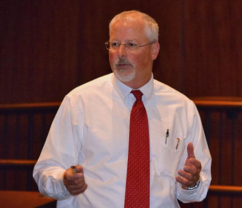 Architect Craig Beilharz talks about a proposed design for a new athletic complex during Wednesday's meeting of the Van Wert City Board of Education. (Dave Mosier/Van Wert independent)