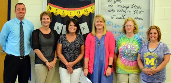 New Lincolnview staff members include (from the left) Matt Evans, Marla Kemler, Deb Miller, Lindsay Breese, Teresa Dunlap, and Tara Linton. Dave Mosier/Van Wert independent
