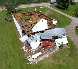 Shown is a drone photo showing barn damage at the residence of Audrey McClure on U.S. 224 caused by one of four tornadoes to hit the county last Wednesday. Rick McCoy/for the Van Wert independent)
