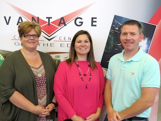 There are a few new faces at Vantage as the 2016-2017 school year begins.  From the left:  Diane Font is the new Medical Office Management instructor, Alaina Ellis is the new high school secretary, and Ray Gibson is a new Social Studies teacher.  Lisa Enyart is a new member of the cafeteria/maintenance team, but was unavailable for the picture.  (Photo submitted.)