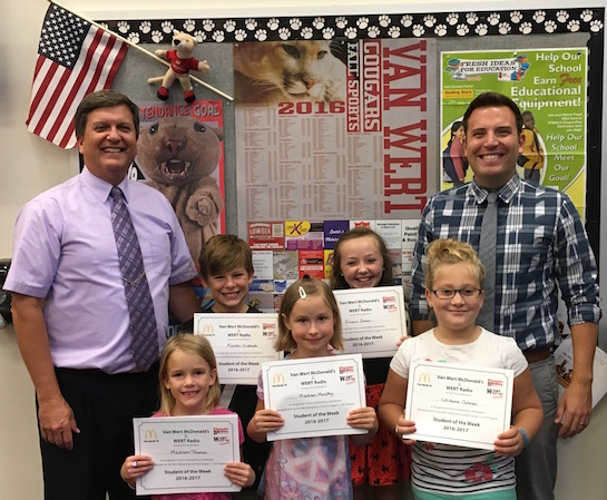 Congratulations to the Van Wert Elementary School Students chosen for the Word of the Week award!  Pictured with Mr. Gehres, Principal, and Mr. Krogman, Assistant Principal, are students recognized for being compassionate.  Award winners this week are Madison, grade 1; LilliAnne, grade 2; Madison, grade 3; Emma, grade 4; and Keaton, grade 5.  Each child received a free Mighty Kids Meal from our local McDonalds and a certificate from WERT Radio. (Photo submitted.)