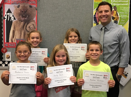Congratulations to the Van Wert Elementary School Students chosen for the Word of the Week award!  Pictured with Mr. Krogman, Assistant Principal, are students recognized for being accepting.  Award winners this week are Amidy, grade 1; Maddox, grade 2; MacKenzie, grade 3; Rhianna, grade 4;  and Kaitlyn, grade 5.  Each child received a free Mighty Kids Meal from our local McDonalds and a certificate from WERT Radio. (Photo submitted.)