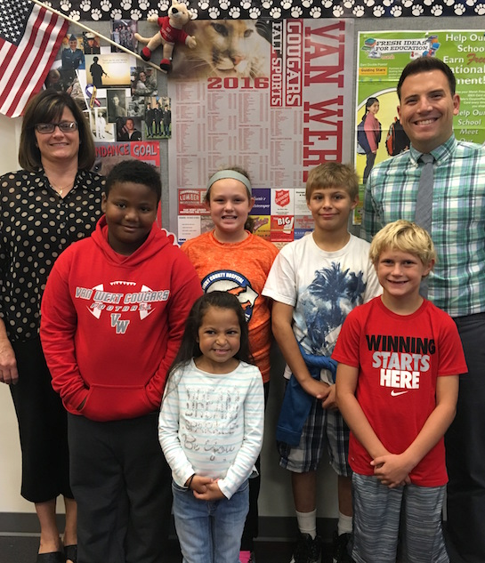 """Accountable"" is the Word of the Week!   Congratulations to the Van Wert Elementary School Students chosen for the Word of the Week award!  Pictured with Mr. Krogman, Assistant Principal, and Mrs. Anderson, School Secretary, are students recognized for being responsible for their actions.  Award winners this week are Alianna, grade 1; Keaten, grade 2; Mason, grade 3; and Hope and Isaac, grade 5.  Each child received a free Mighty Kids Meal from our local McDonalds and a certificate from WERT Radio. (Photo submitted.)"