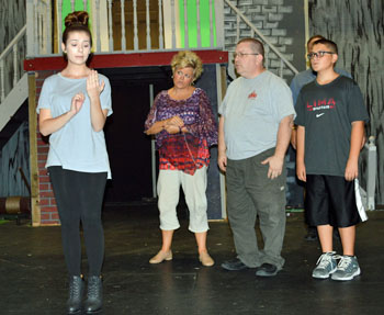Van Wert Civic Theatre' cast members rehearse for The Addams Family production. (VWCT photo)
