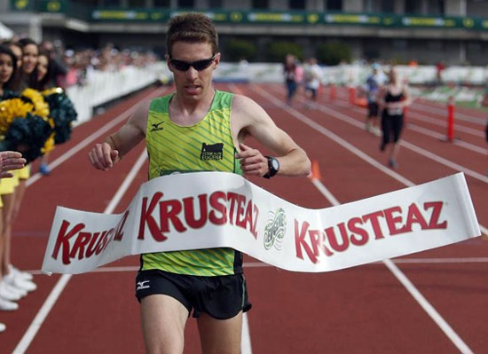 Van Wert native and professional marathoner Craig Leon shown winning a marathon. (photo submitted)