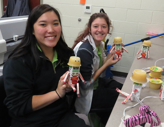 Early Childhood Education seniors Lindsey Bok (Antwerp) and Shayli Jamison  (Ft. Jennings) show off the special treats they made for the preschoolers' first day. (Photo submitted.)