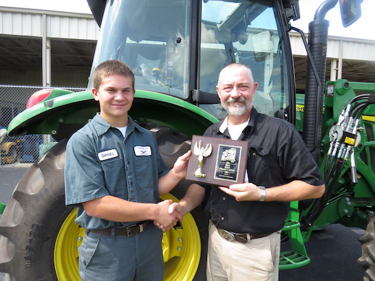 Congratulations to Daniel Sinn (Paulding), a senior in the Ag & Industrial Power Tech program.  Daniel received the Best Weld Project award at the Van Wert County Fair.  Pictured with Daniel is Mike Miller, his program teacher. (Photo submitted.)