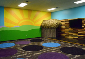 This large-group room in Waumba Land includes nice carpet and bright artwork. Dave Mosier/Van Wert independent