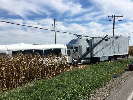 A box truck and a bus collided at the intersection of Ohio 118 and Wren-Landeck Road on Monday afternoon. Rick McCoy photo for the VW independent