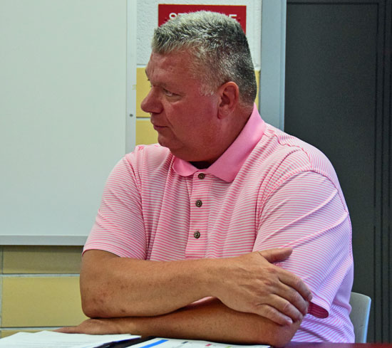 Administrative Assistant Bill Clifton talks about state testing during Tuesday's meeting of the Van Wert City Board of Education. Dave Mosier/Van Wert independent
