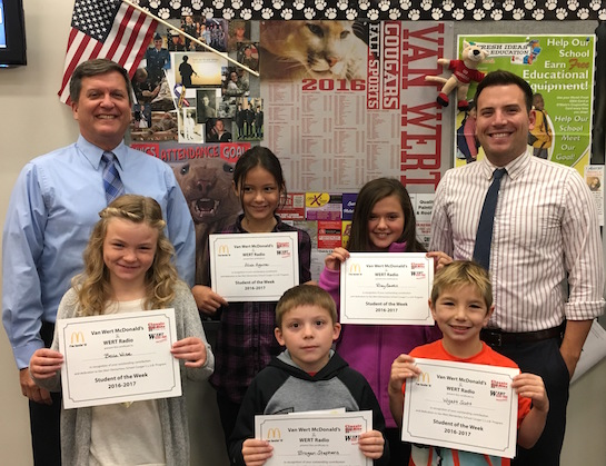 """""""Friendliness"""" is the Van Wert Elementary School Word of the Week!  Congratulations to the Van Wert Elementary School Students chosen for the Word of the Week award!  Pictured with Mr. Gehres, Principal, and Mr. Krogman, Assistant Principal, are students recognized for being friendly.  Award winners this week are Wyatt, grade 1; Brogan, grade 2; Bella, grade 3; Aliah, grade 4; and Riley, grade 5.  Each child received a free Mighty Kids Meal from our local McDonalds and a certificate from WERT Radio. (Photo submitted.)"""