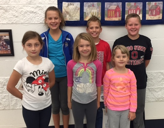 "Lincolnview Elementary Lancer Lifeskill for the month of September is ""Lead By Example.""  Shown are Olivia, Gracen, Claire, Bennett, Ethan, and Maceyn.  They were selected by their teachers for demonstrating Accountability.  (Photo submitted.)"