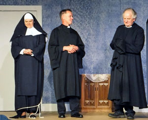 Sister Mary Mary (Amy McConn) and Father Paul (Matt Krol), who are actually reporters Sally and Paul, talk with Father Chenille (Steve Bricker). (OSP photo)