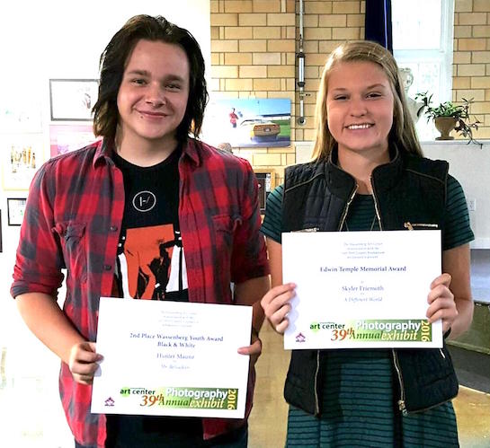 Hunter Maunz won the Second Place Youth Black and White Photography category as well as a cash prize and Skyler Friemoth won the Edwin Temple Memorial Award for Photography as well as a cash prize in the Wassenberg Art Center's 39th Annual October Photography Exhibit.  (Photo submitted.)