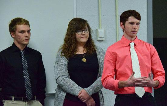 Three VWHS seniors talk about their experiences as part of the school's new CEO (Career Exploratory Opportunity) program during Wednesday's Van Wert City Board of Education meeting. Dave Mosier/Van Wert independent