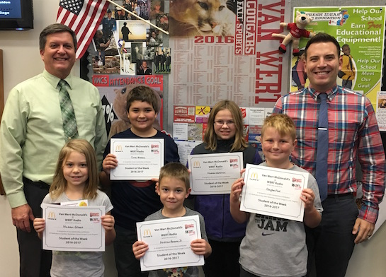 """""""Respect Authority""""    Congratulations to the Van Wert Elementary School Students chosen for the Word of the Week award!  Pictured with Mr. Gehres, Principal, and Mr. Krogman, Assistant Principal, are students recognized for respecting authority.  Award winners this week are Andrew, grade 1; Madison, grade 2; Clayton, grade 3; Madison, grade 4; and Caleb, grade 5.  Each child received a free Mighty Kids Meal from our local McDonalds and a certificate from WERT Radio. (Photo submitted.)"""