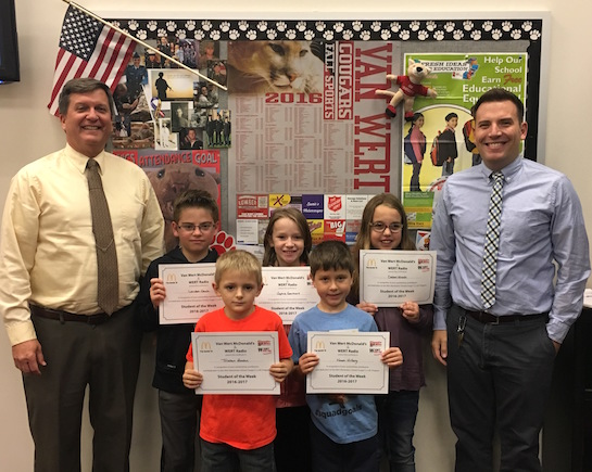 """Congratulations to the Van Wert Elementary School Students chosen for the Word of the Week award.  This week's word was """"Polite.""""  Pictured with Mr. Gehres, Principal, and Mr. Krogman, Assistant Principal, are students recognized for being polite.  Award winners this week are Tristan, grade 1; Noah, grade 2; Delani, grade 3; Sophie, grade 4; and Landen, grade 5.  Each child received a free Mighty Kids Meal from our local McDonalds and a certificate from WERT Radio. (Photo submitted.)"""