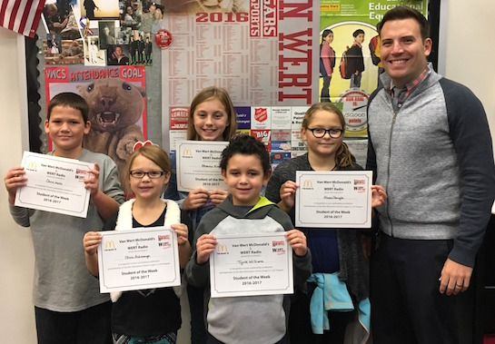 """""""Equality"""" is the Word of the Week!    Congratulations to the Van Wert Elementary School Students chosen for the Word of the Week award!  Pictured with Mr. Krogman, Assistant Principal, are students recognized for being fair and treating others equally.  Award winners this week are Tyrik, grade 1; Olivia, grade 2; Brenna, grade 3; Chris, grade 4; and Alexis, grade 5.  Each child received a free Mighty Kids Meal from our local McDonalds and a certificate from WERT Radio. (Photo submitted.)"""