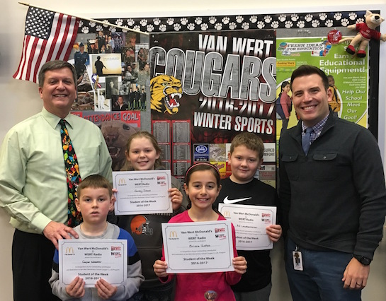 Congratulations to the Van Wert Elementary School Students chosen for the Word of the Week award!  Pictured with Mr. Gehres, Principal, and Mr. Krogman, Assistant Principal, are students recognized for being patient.  Award winners this week are Cooper, grade 1; AJ, grade 2; Brissia, grade 3; Danielle, grade 4; and Hailey, grade 5.  Each child received a free Mighty Kids Meal from our local McDonalds and a certificate from WERT Radio. (Photo submitted.).