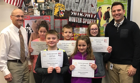 Congratulations to the Van Wert Elementary School Students chosen for the Word of the Week award!  Pictured with Mr. Krogman, Assistant Principal, and Mr. Collins, Guidance Counselor, are students recognized for having good self-control.  Award winners this week are Ava, grade 1; Caden, grade 2; Trey, grade 3; Myca, grade 4; and Keylei, grade 5.  Each child received a free Mighty Kids Meal from our local McDonalds and a certificate from WERT Radio. (Photo submitted.)