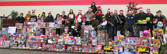 Vantage students, staff, and alumni raised over $4,000 to buy toys for the local Toss A Toy project. It took two trucks to load them all! A special thanks to Santa's helpers at Lee Kinstle GMC. (Photo submitted.)