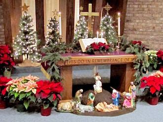 Trinity UM Church's Christmas Altar. (Photo by Rex Dolby.)