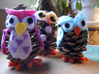 Pinecone owl ornaments will be one of the projects featured at the Wassenberg Art Center Thursday during the Elf Workshop. (Photo submitted.)