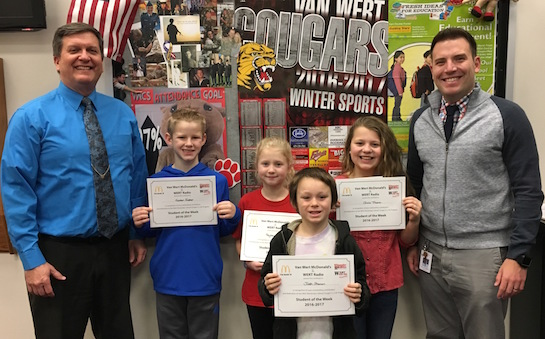 """Being Alert"" is the theme for the Van Wert Elementary School Word of the Week! Pictured with Mr. Gehres, Principal, and Mr. Krogman, Assistant Principal, are students recognized for being alert and focusing in the classroom.  Award winners this week are Izaiah, grade 1; Josh, grade 2; Peyton, grade 3; Keaton, grade 4; and Olivia, grade 5.  Each child received a free Mighty Kids Meal from our local McDonalds, a free taco from our local Taco Bell, and a certificate from WERT Radio. (Photo submitted.)"