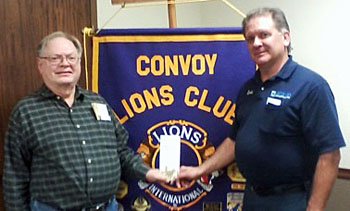 Shown are Raymond Hertz of the Historical Society and Convoy Lions Club member David Thomas. (photo submitted)