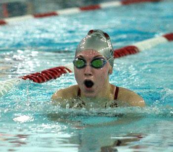 Van Wert's Peyton Fleming swims the 100-yard breaststroke during the Wapakoneta/Celina Swim Meet on Saturday. (photo submitted)
