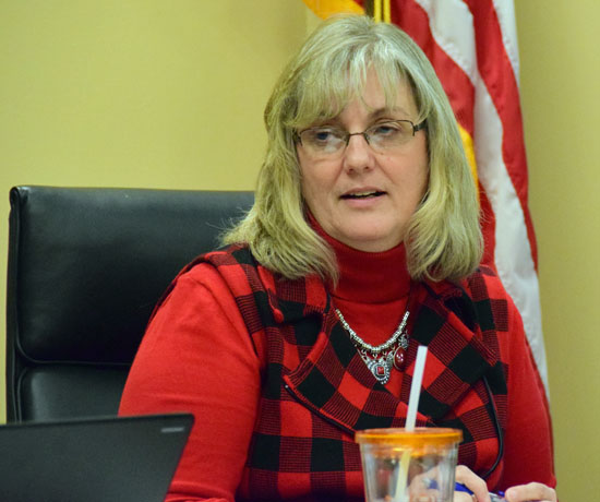 Vantage Treasurer Laura Peters talks about the school's state audit being completed during Thursday's board meeting. Dave Mosier/Van Wert independent