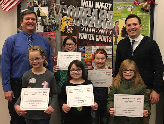 Congratulations to the Van Wert Elementary School Students chosen for the Word of the Week award!  Pictured with Mr. Gehres, Principal, and Mr. Krogman, Assistant Principal, are students recognized for being cheerful, happy and optimistic.  Award winners this week are Summer, grade 1; Adria, grade 2; Serenity, grade 3; Lily, grade 4; and Natalie, grade 5.  Each child received a free Mighty Kids Meal from our local McDonalds, a free taco from our local Taco Bell, and a certificate from WERT Radio. (Photo submitted.)
