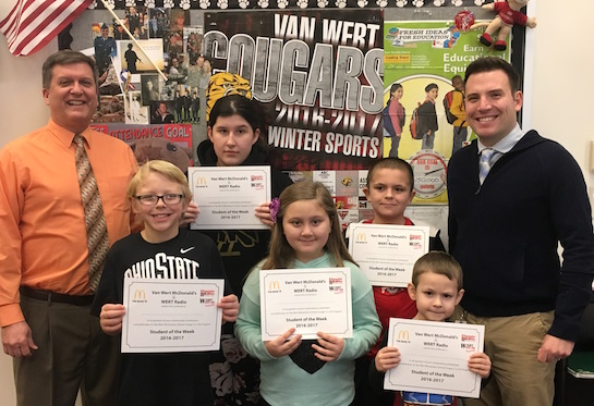 Congratulations to the Van Wert Elementary School Students chosen for the Word of the Week award!  Pictured with Mr. Gehres, Principal, and Mr. Krogman, Assistant Principal, are students recognized for being grateful, appreciative and thankful.  Award winners this week are Zach, grade 1; Chandler, grade 2; Natalie, grade 3; Joey, grade 4; and Carmen, grade 5.  Each child received a free Mighty Kids Meal from our local McDonalds, a free taco from our local Taco Bell, and a certificate from WERT Radio. (Photo submitted.)