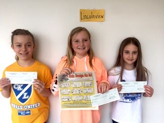 """Fourth grade winners of the Delphos Herald """"Design an Ad"""" contest are 1st grade-Elizabeth Johnson, 2nd grade-Ashlyn Price and 3rd grade-Brianna Wallace. (Photo submitted.)"""