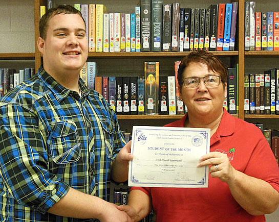 Joel Germann (left) and Linda J. Stanley, Elks Student of the Month chair.