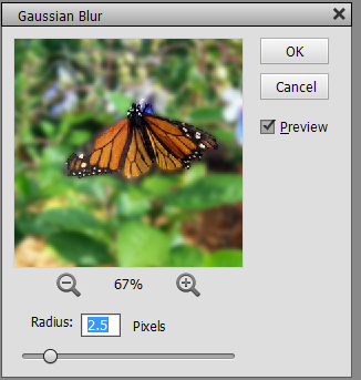 An illustration of a Gaussian Blur screen. (Photo submitted.)