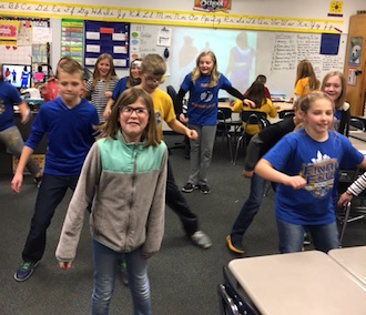 Shown are students from Christie Wendel's fourth grade room engaging in a Brain Break. (Photo submitted.)