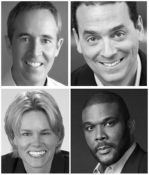 Leadercast 2017 speakers include (top row, from the left) Andy Stanley and Daniel Pink; (bottom row) Molly Fletcher and Tyler Perry. (photos submitted)