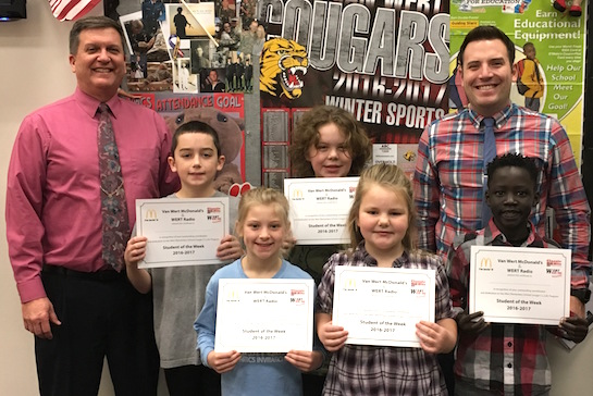 Congratulations to the Van Wert Elementary School Students chosen for the Word of the Week award!  Pictured with Mr. Gehres, Principal, and Mr. Krogman, Assistant Principal, are students recognized for being understanding of other people's feelings, tolerant and forgiving.  Award winners this week are Hannah, grade 1; Kuchman, grade 2; Madalynn, grade 3; Brody, grade 4; and Mac, grade 5.  Each child received a free Mighty Kids Meal from our local McDonalds, a free taco from our local Taco Bell, and a certificate from WERT Radio. (Photo submitted.)
