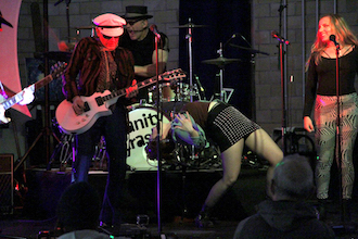 "Vanity Crash of Cleveland performed Saturday evening at the Wassenberg Art Center's punk rock party, ""Punk Valentines"". Band members are left to right Bill Gressock, Dennis Van Crash, Thomas Mulready, DeLee Cooper and Allison Yellets. (Photo by John Naegele.)"
