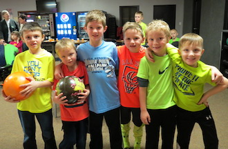 Lincolnview kindergarten and first grade students enjoyed their bowling field trip last week to Olympic lanes in Van Wert. For two weeks members from the In School Bowling Program come into physical education to teach the students about bowling. How to pick the ball up, technique, footwork, etiquette. Pictured is Keaton Salyers, Tucker Garver, Emryn Hatfield, Marshal Hammons, Adam Miller and Carter Dunlap. (Photo submitted.)
