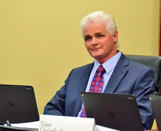Apollo Director of Adult Programs Rick Turner smiles as he is introduced as the new superintendent during the March meeting of the Vantage Career Center Board of Education on Thursday. Dave Mosier/Van Wert independent