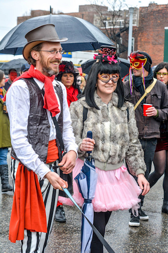Marche Du Nain Rouge, held annually in Detroit, is a parade to remove a mythical dwarf who is suspected to be responsible for the past year's bad happenings throughout the city. (Photo submitted.)