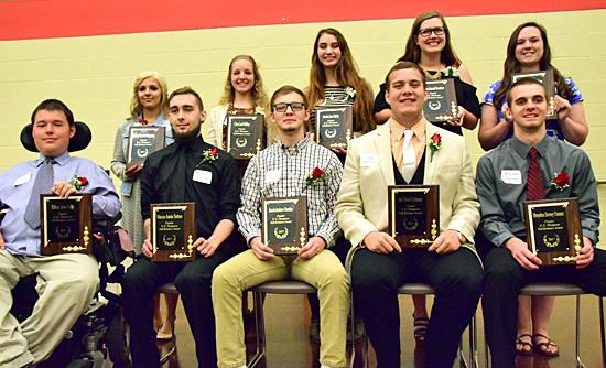 2017 R.K. Thompson Self-Reliance Award finalists include (bottom row, from the left) Ethan Culp, Marcus Tarlton, Jacob Durden, Joel Germann, and Brayden Farmer; (top row) Bailey Stegaman, Cora Millay, Brooke Ripley, Madison Buecker, and Maggie Cripe. photos by Dave Mosier/Van Wert independent